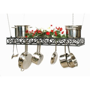 Cheap Hanging Rectangular Scroll Cookware Pot Rack pc Amish Made (hrecpcscroll)