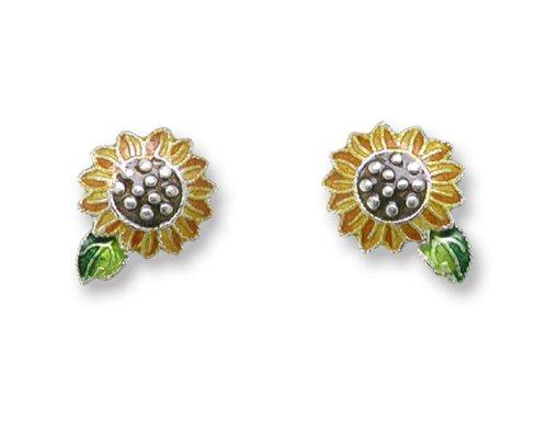 Sunflower Enameled Sterling Silver Post Earrings
