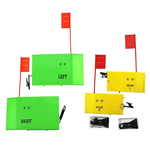 "Krazywolf Planer Board (P011 & P009),Includes Spring Flag system,Left&Right L12″Xw4.25″ & L8″xW3"",2 Pairs,Hot Green/Yellow"