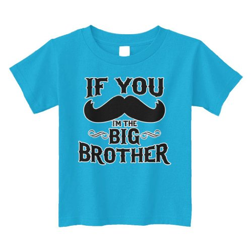 Threadrock Little Boys' If You Mustache I'M The Big Brother Toddler T-Shirt 3T Turquoise front-808786