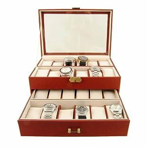 Caja para 24 relojes en dos pisos con visor de cristal