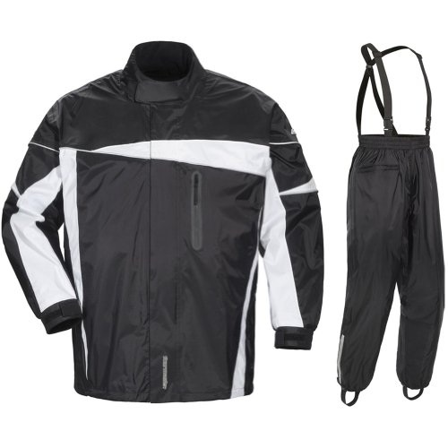 Tour Master Defender 2.0 Men'S 2-Piece Street Bike Racing Motorcycle Rain Suit - Black/Black / Large