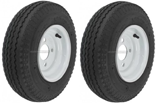2-Pack Mounted Trailer Wheel & Tire #409 480-8 4.80-8 4.80x8