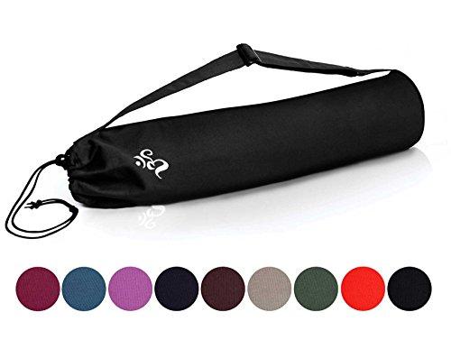 Borsa da yoga »Devala« di #DoYourYoga in pregiato cotone, lavorazione di qualità, adatta a tutti i tappetini da yoga di dimensioni fino a 180 cm x 62 cm x 0,6 cm, colore: nero