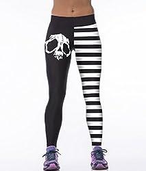 iSweven Skull Design Printed Polyester Multicolor Yoga pant Tight legging for womens girls