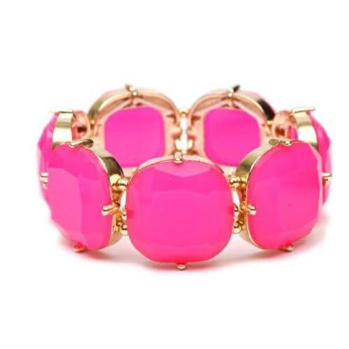 Heirloom Finds Cushion Cut Hot Pink Fuchsia Resin Stretch Cuff Bracelet Gold Tone