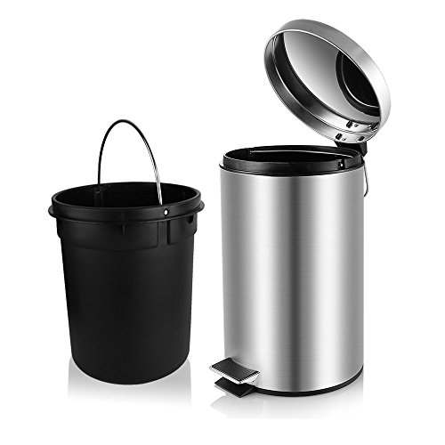 Fortune Candy Small Round Stainless Steel Step Trash Can with Lid Slow Closing Fitting,Removable Inner Bucket,Fingerprint Proof,1.3 Gallon/5 Liter (Stainless Steel Trash Can 5 Liter compare prices)