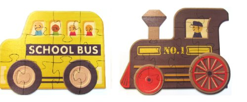 Set Of 2 Wooden Puzzles - School Bus And Train - Made In Usa front-49033