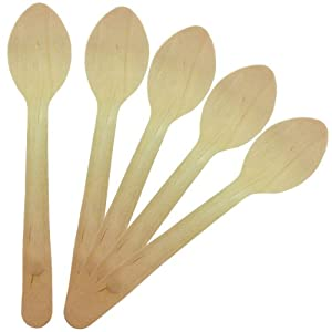 Birchware 100-Piece Classic Compostable Wooden Spoons by Birchware