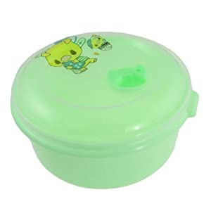 Picnic Plastic Lid Green Round Lunch Pail Box Food Container w Spoon