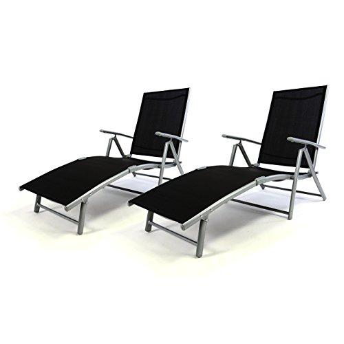 2er-Set-Klappliege-Alu-Textilene-Sonnenliege-Liegestuhl-Campingliege-schwarz-klappbar