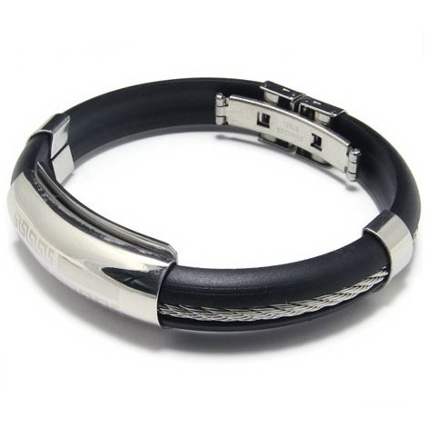 Vantasy High Quality Men's Stainless Steel Fashion Silicon Rubber Silver Tone Buckle Bracelet Bangle