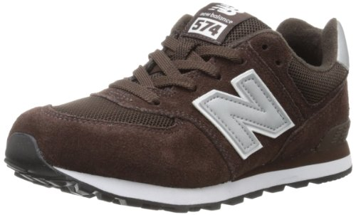 New Balance KL574 Grade Running Shoe (Big Kid),Brown/Silver,5.5