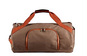 Casual Canvas and Leather Round Duffel Bag with Shoe Pocket, Large from Most Will