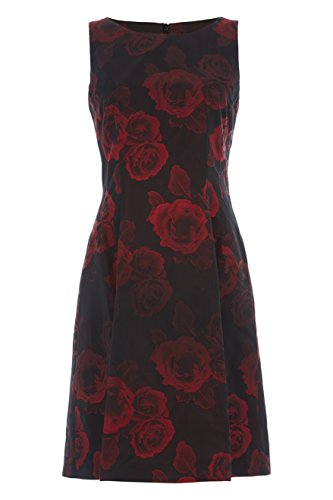 Womens Rose Print Jacquard Dress - Ladies - Red - Size 10 12 14 16 18 20