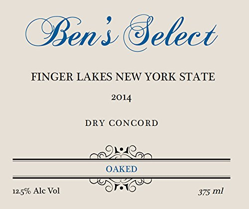 "2014 Ben Ish Winery ""Ben'S Select"" Finger Lakes New York State Dry Concord Wine With Personalized Label 375 Ml"