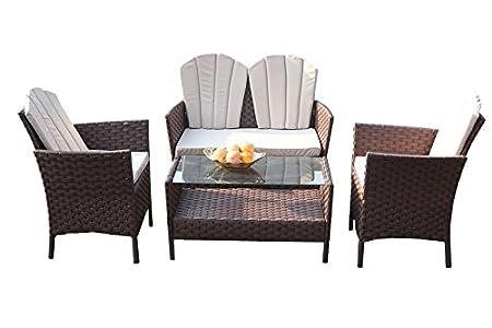 YAKOE 50105Eton gama al aire libre muebles de jardín porche Patio sofá sillas y mesa de café Set–marrón (4piezas)