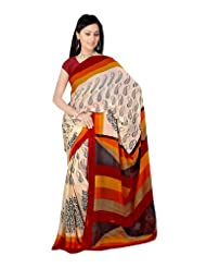 Fabdeal Women Indian Designer Printed Saree Wheat, Black & Brown-JIMSR389AADP