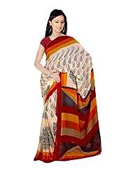 Fabdeal Women Indian Designer Printed Saree Wheat, Black & Brown-JIMSR389AADP