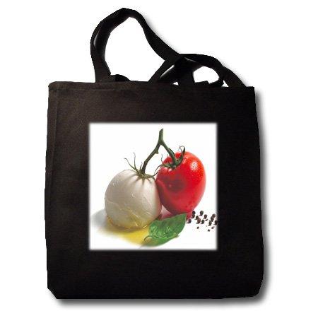 Photo Of Tomato n Mozzarella Ball.jpg - Black Tote Bag 14w X 14h X 3d