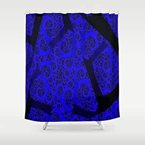 Society6 Cobalt Blue Fractal Abstract Shower Curtain By Rokinronda Home Kitchen