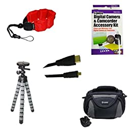 Kodak PixPro SPZ1 Camcorder Accessory Kit includes: ZE-FS10-R Underwater Accessories, SDC-26 Case, HDMI6FMC AV & HDMI Cable, ZELCKSG Care & Cleaning, GP-22 Tripod