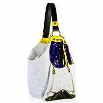 Hot Sale Marino Orlandi Italian Designer White Monogram Leather Sling Bucket Purse Bag