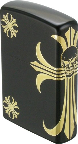 ZIPPO (Zippo) スカルクロス limited model 3-sided continuous etching black ion plating plating LE-150 スカルクロス