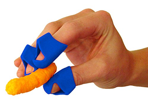 Chip Fingers - Finger Guards for Eating / Snacking - Food-Grade Silicone - Finger Food Utensil - Finger Cover for Cheesy Greasy Sticky Fingertips (5, Blue)