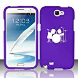Samsung Galaxy Note 2 Snap On 2 Piece Rubber Hard Case Cover Drum Set Purple