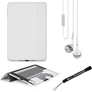 WHITE iPad Mini Smart Case, Lightweight, Durable, Slim Design + WHITE Crystal Clear High Quality HD Noise Filter Ear buds with MIC ( 3.5mm Jack ) + eBigValue Determination Hand Strap