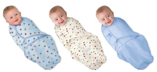 Summer Infant SwaddleMe 3 pack,Sports, Sports Dots, Blue