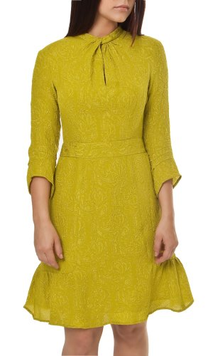 Nanette Lepore Queen of Wands Jacquard Dress Chartreuse 6