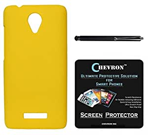 Chevron Rubberized Back Cover Case for Micromax Canvas Spark Q380 With HD Screen Guard & With Stylus (Yellow)
