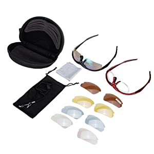 Riding Cycling Glasses Polarized Sunglasses Sport Glasses with 1 more frames for free 5 Lens--Running, Cycling, Skiing, Shooting, Golf and Casual