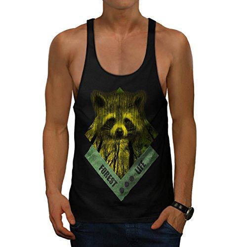 raccoon-forest-life-yellow-wood-men-new-black-xl-gym-tank-top-wellcoda