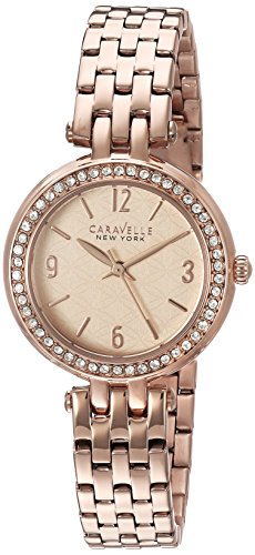 Caravelle 44L175 Women's New York Rose Gold Dial Rose Gold Steel Crystal Watch