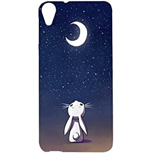 Casotec Moon Bunny Design Hard Back Case Cover for HTC Desire 820
