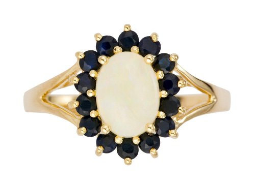 9ct Yellow Gold Oval Opal and Dark Sapphire Ring