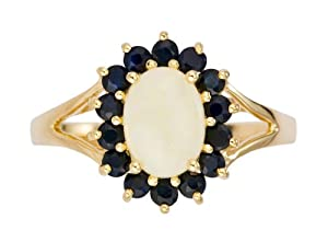 Ornami Glamour 9ct Yellow Gold Oval Opal and Dark Sapphire Ring of size N