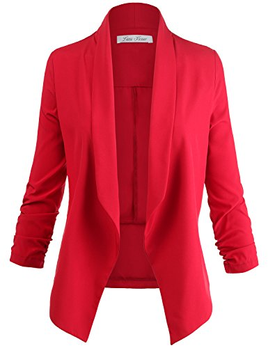 Plus Size 3/4 Cinched Sleeve Open Front Blazer Jackets Red 2XL