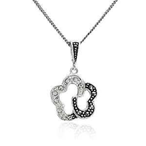 """Sterling Silver Marcasite and Crystal Flower Pendant Necklace , 18"""""""