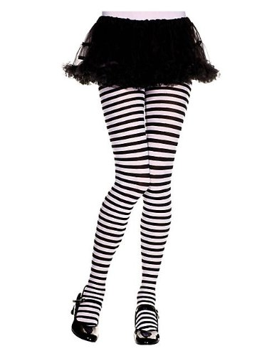Girls Black and White Striped Tights L
