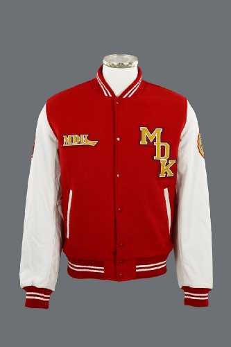 MDK Mens Leather Jacket Owens (Leather & Wool) Red/White 3XL