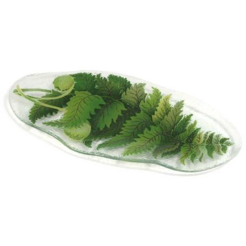 Amazon.com: Peggy Karr 15-Inch Glass Organic Leaf Fern Plate: Trays