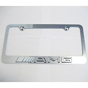 Mercedes benz amg logo chrome license plate for Mercedes benz license plate logo