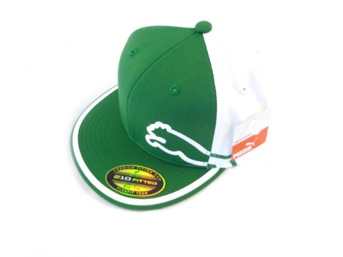 1586065d NEW Puma Rickie Fowler Monoline Flat Bill SPLIT GREEN/WHITE Fitted S/M Hat