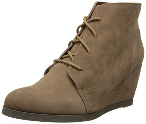 Madden Girl Domain Wedge Boots 7 M, Taupe Fabric