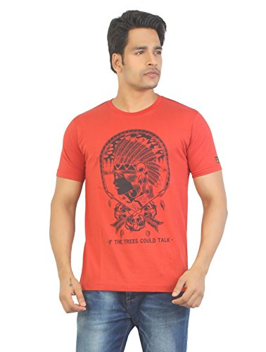 Aliep Aliep Stylish Red Printed Half Sleeves T-Shirt For Men | 1652 (Multicolor)
