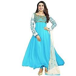 RajLaxmi Women's Fashion Light Blue Georgette Dress Material
